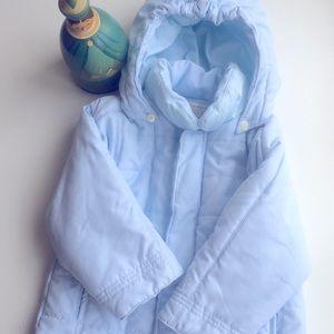 Emile et Rose Baby Light Blue Quilted Jacket Hood